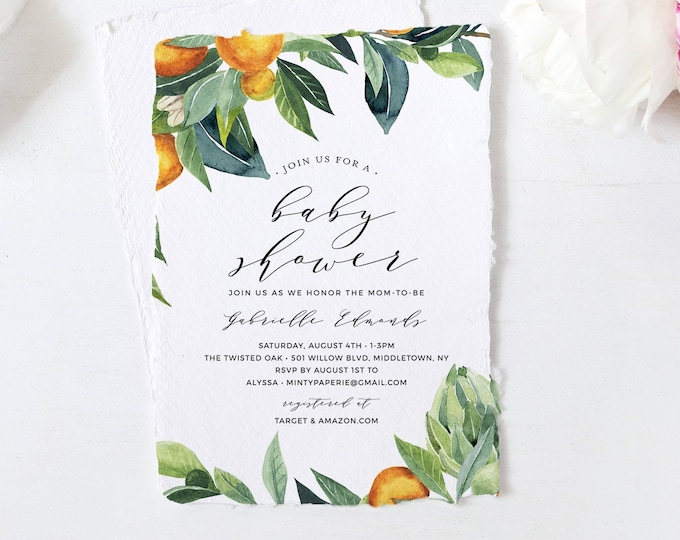 Citrus Baby Shower Invitation Template, Printable Gender Neutral Summer Baby Shower Invite, Orange, Templett, INSTANT DOWNLOAD #084-124BA