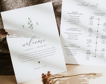 Minimalist Greenery Welcome Letter & Timeline Template, Wedding Order of Events, Itinerary, INSTANT DOWNLOAD, Editable Text #0004B-148WB