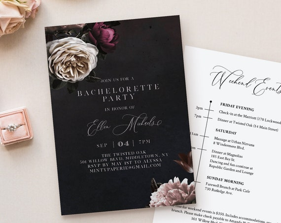 Bachelorette Party Invitation & Itinerary Template, Editable Text, Vintage Botanical Moody Floral, INSTANT DOWNLOAD, Templett #009-132BP