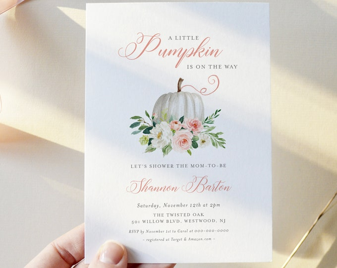 A Little Pumpkin Baby Shower Invitation, Fall Baby Shower Invite Template, 100% Editable Text, Printable Instant Download, DIY #072B-195BA