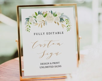 Wedding Sign Template, Self-Editing Template, Create Unlimited Signs, INSTANT DOWNLOAD, Printable, Floral Boho Wedding 5x7 & 8x10 #021-110CS
