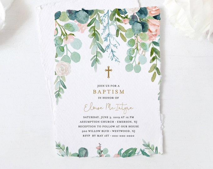 Lush Garden Baptism Invitation Template, Greenery Christening Invite, Printable, 100% Editable Text, Instant Download, Templett #068A-114BC