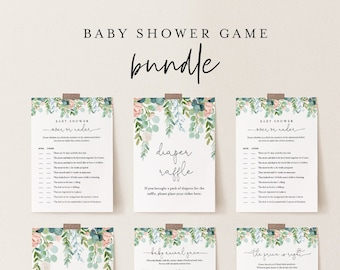 Baby Shower Game Bundle, Personalize Questions, 11 Editable Games, INSTANT DOWNLOAD, Lush Garden Greenery, Editable Template, DIY #068BBGB