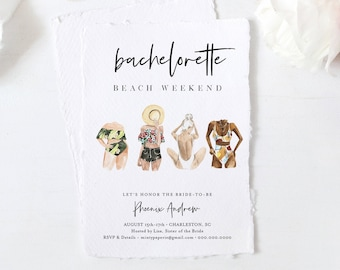 Beach Bachelorette Party Invitation Template, Printable Bachelorette Weekend Itinerary, INSTANT DOWNLOAD, Editable Text, Templett #130BP