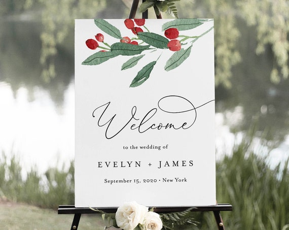 Holly Welcome Sign Template, Bridal Shower Welcome Poster, Winter Wedding Sign, Editable Text, Instant Download, Templett, DIY #071-186LS