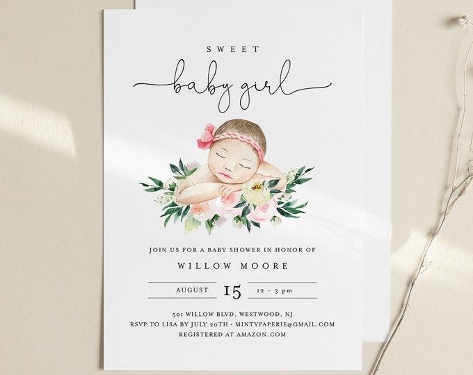Baby Girl Shower Invitation Template, Sweet Baby Girl, 100% Editable, Printable It's a Girl Invite, Instant Download, Templett #0005-179BA