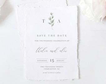 Save the Date Template, 100% Editable Text, Minimalist Greenery Wedding Date, Templett, Digital, Instant Download, Templett #0004B-173SD
