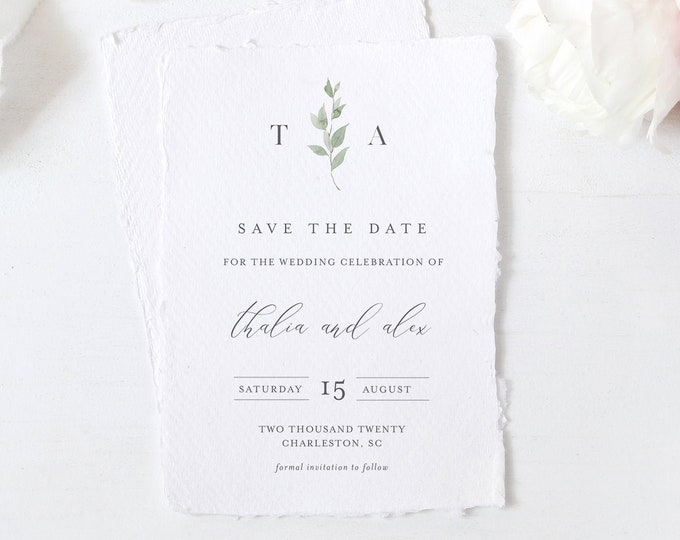 Save the Date Template, 100% Editable Text, Minimalist Greenery Wedding Date, Templett, Digital, Instant Download, Templett #0004B-173SD