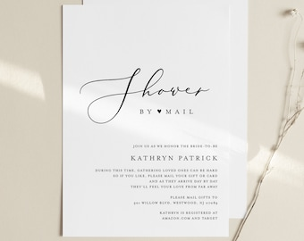 Bridal Shower by Mail Template, Minimalist Baby or Bridal Shower Invite, 100% Editable, Instant Download, Printable, Templett #045-271BS