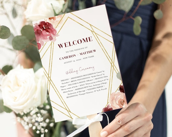 Fan Wedding Program, Printable Order of Service Template, Burgundy Floral & Gold, Editable, INSTANT DOWNLOAD, Fan or Flat Program #065-422WP