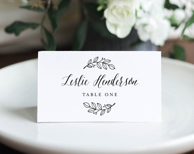 Rustic Wedding Place Card Template, Printable Modern Calligraphy Escort Card, Editable Seating Card, Templett, Instant Download #039-160PC