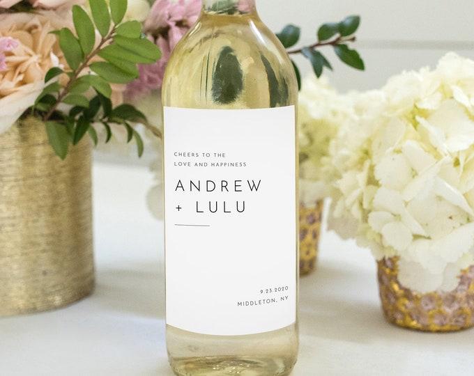 Minimalist Wine Bottle Label Template, DIY Wedding Wine Favor, 100% Editable, Custom Wine Label, Instant Download, Templett #094-115WL