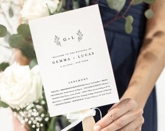 Monogram Wedding Program, Fan or Flat Program, Minimalist Order of Service, Editable Template, Instant Download, Templett #095B-428WP