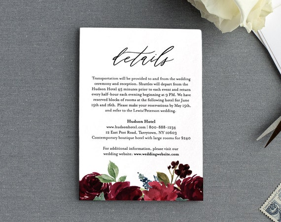 Wedding Details Card Template, Editable Enclosure Card, Printable Wedding Invitation Insert, Instant Download, 100% Editable Text, DIY #062C