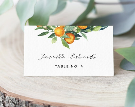 Orange Place Card Template, Printable Citrus Lemon Greenery Wedding Escort / Seating Card, Name Card, INSTANT DOWNLOAD, Editable #084-138PC