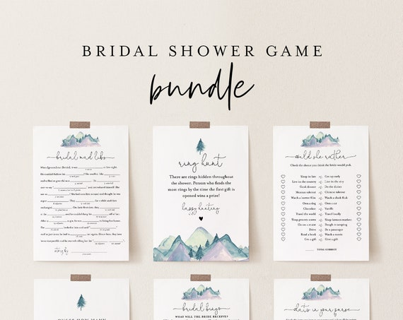 Bridal Shower Game Bundle, 12 Editable Templates, INSTANT DOWNLOAD, Personalize Name & Questions, Mountain Bridal Games, Templett #063BGB