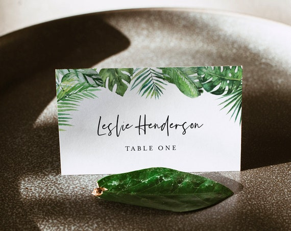 Tropical Wedding Place Card Template, Printable Modern Beach Escort Card, Editable Seating Card, Templett, Instant Download #083-161PC