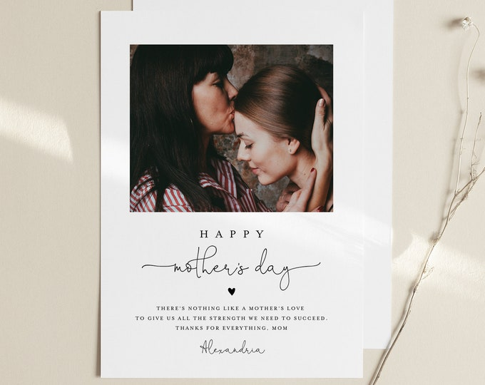 Personalized Photo Mother's Day Card, Custom Insert Your Own Image, 100% Editable, Printable, Instant Download, Templett, 5x7  #101MDC