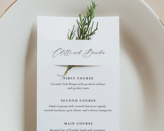 Wedding Menu Template, Greenery Wedding Menu Card, Printable DIY Menu, Unique Menu, 100% Editable Text, INSTANT DOWNLOAD, 3.5x8.5 #082-157WM