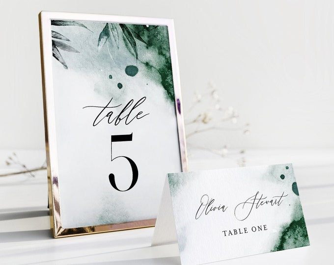 Emerald Watercolor Table Number Card Template, Green Wedding Table Number, Editable, INSTANT DOWNLOAD, Templett, DIY 4x6 #0002-197TC