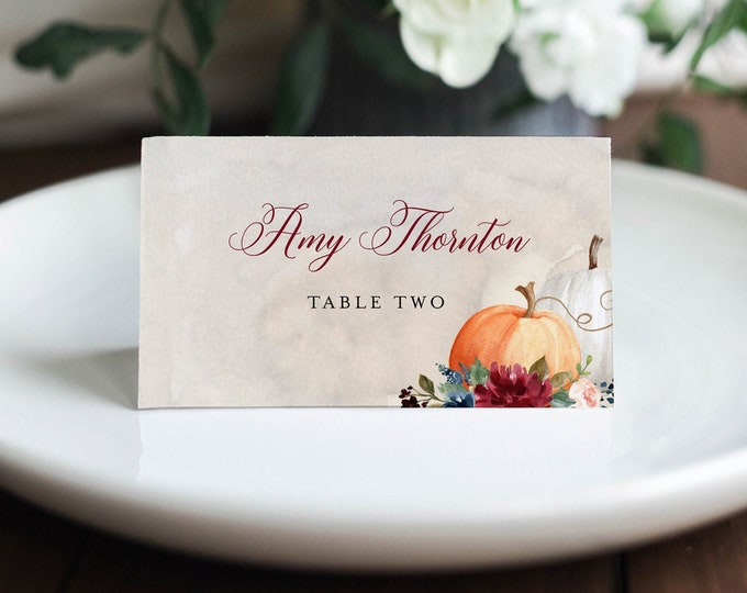 Pumpkin Place Card Template, Printable Rustic Fall Wedding Escort Card, Thanksgiving Name Card, Editable Text, INSTANT DOWNLOAD #072A-145PC