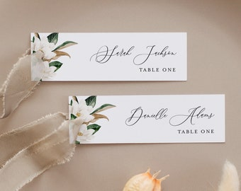 Magnolia Place Card Template, 100% Editable, Printable Skinny Escort Card, Name Card, Favor Tag, Slim, Southern Wedding, Templett #015-197PC