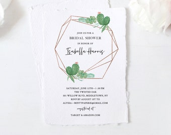 Cactus Bridal Shower Invitation Template, Fiesta Wedding Shower Invite, Succulents, Editable Text, Printable, INSTANT DOWNLOAD #086-240BS