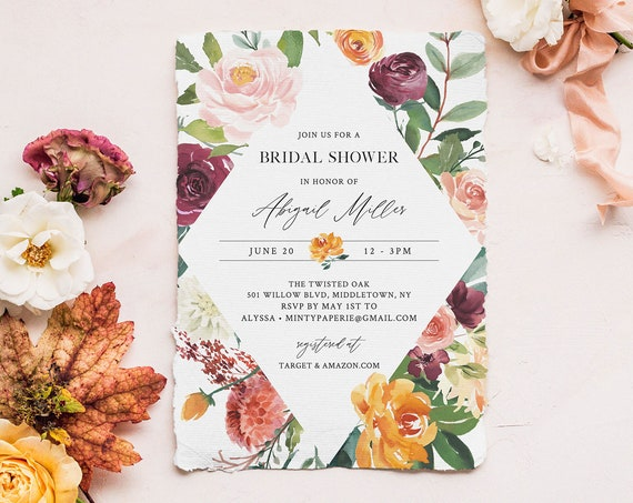 Printable Bridal Shower Invitation, INSTANT DOWNLOAD, Couples Shower Invite Template, 100% Editable Text, Autumn Coral Florals #002-224BS