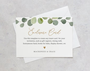 Greenery Enclosure Card Template, Printable Insert Card, Editable for Wishing Well, Book Request, Event Details, INSTANT DOWNLOAD #056-133EC