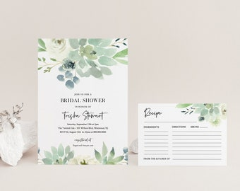 Bridal Shower Invitation & Recipe Set, Succulent Greenery Wedding Shower, Printable Couples Shower and Recipe, Editable, Templett #075-BSRC