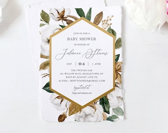 Magnolia Baby Shower Invitation Template, Southern Cotton, Printable Baby Shower Invite, 100% Editable Text, Instant Download #015-106BA