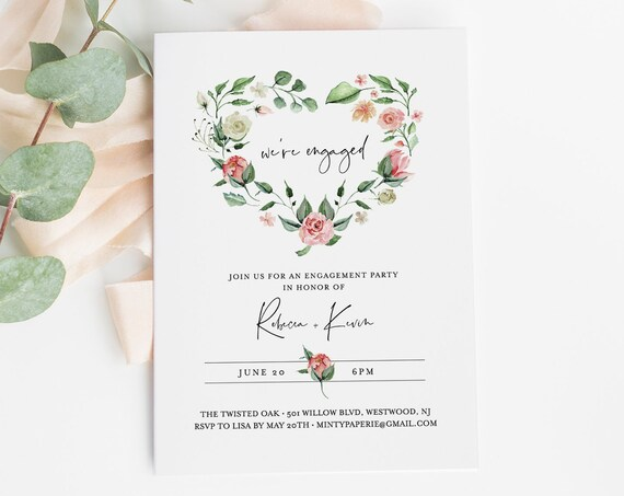 Engagement Party Invitation Template, Heart Wreath, 100% Editable Text, INSTANT DOWNLOAD, Printable Engaged Announcement, Templett 058-126EP