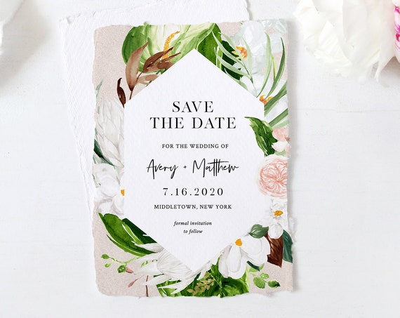 Save the Date Template, Destination Wedding, Lush Tropical Greenery, Instant Download, 100% Editable Text, Templett, 4x6 & 5x7 #079-148SD