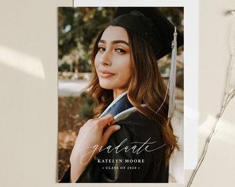 Graduation Announcement Template, Editable Photo Graduate Postcard, Printable Senior Photography Card, Instant Download, Templett  #102GA