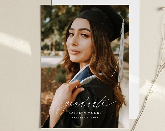 Graduation Announcement Template, Editable Photo Graduate Postcard, Printable Senior Photography Card, Instant Download, Templett  #102GA