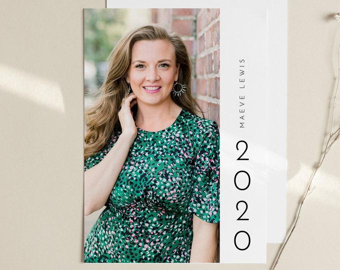 Graduation Announcement 2020, Editable Template, Photo Graduate Postcard, Senior Photography Card, Instant Download, Templett, 5x7 #105GA