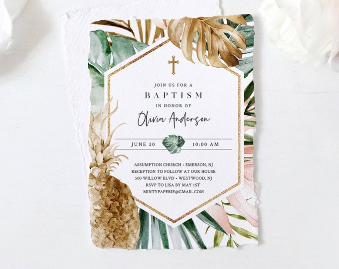Pineapple Baptism Invitation Template, Boy or Girl Christening Invite, Lush Greenery, Editable, Instant Download, Templett, DIY #087-114BC
