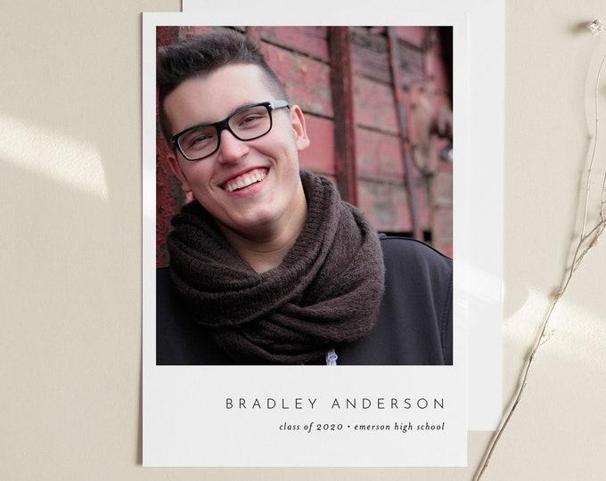 2020 Graduation Announcement, Editable Template, Photo Graduate Postcard, Senior Photography Card, Instant Download, Templett, 5x7 #104GA
