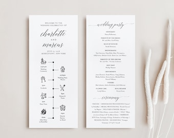 Wedding Timeline Program Template, Minimalist Order of Events, Ceremony Program, 100% Editable, Instant Download, Templett #034-204WP