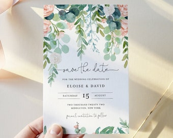 Greenery INSTANT DOWNLOAD Save the Date Card Printable Save the Date Cards Picture Card Garden Rustic Wedding Navy Self-Editing Text
