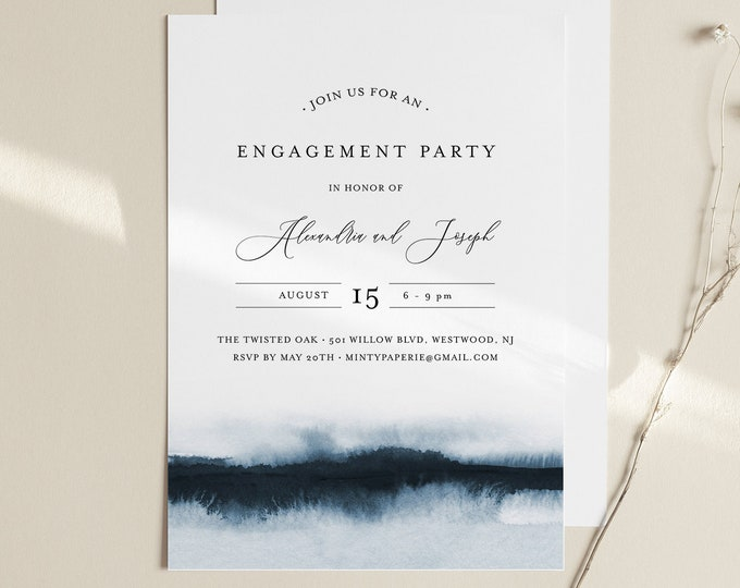 Watercolor Engagement Party Invitation Template, DIY Minimalist Engagement Announcement, Instant Download, Editable, Templett #093A-134EP