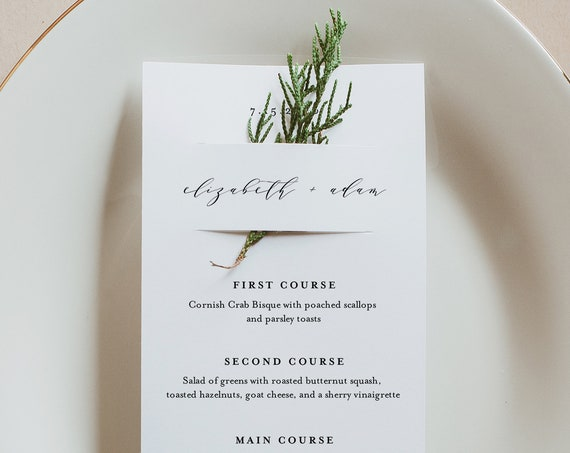 Minimalist Menu Card Template, Modern Wedding Menu, Printable DIY Menu, Unique Menu, 100% Editable, INSTANT DOWNLOAD, 3.5x8.5 #037-158WM