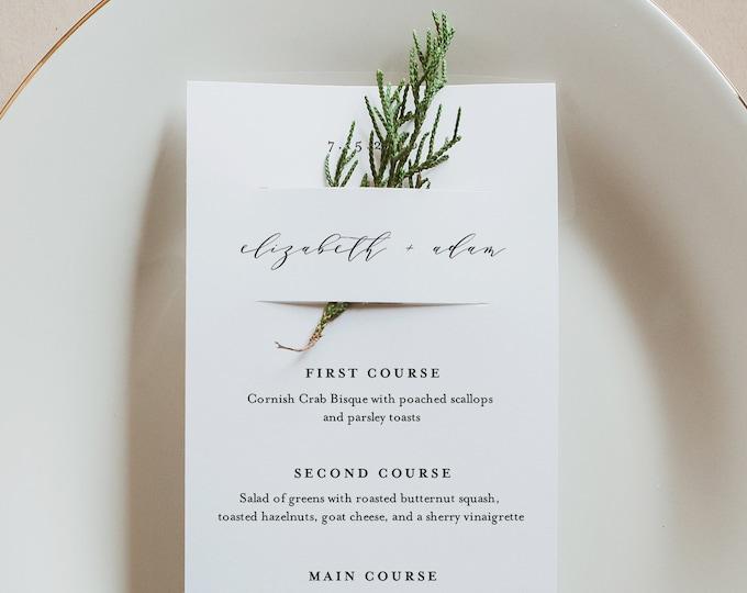 Minimalist Menu Card Template, Modern Wedding Menu, Printable DIY Menu, Unique Menu, 100% Editable, INSTANT DOWNLOAD, 3.5x8.5 #037-158WM
