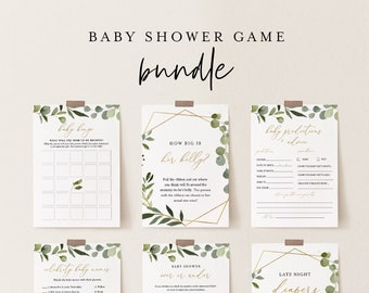Baby Shower Game Bundle, 12 Editable Games, INSTANT DOWNLOAD, Personalize Questions, Greenery & Gold, Editable Template, Templett #056BBGB