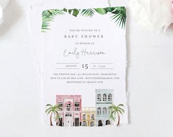 Charleston Baby Shower Invitation Template, 100% Editable Text, Rainbow Row Baby Shower Invite, Templett, Instant Download #017B-148BA