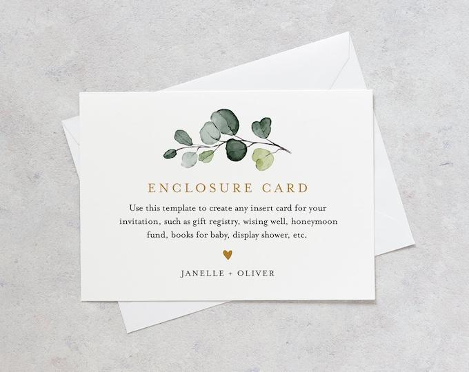 Greenery Enclosure Card, Wedding Invitation Insert, Baby Shower Insert, Editable Text, Details, Info, Instant Download, Templett #007-152EC