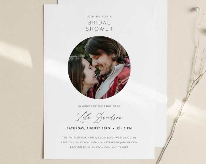Photo Bridal Shower Invitation, Couples Shower Invite, Minimalist Wedding Shower, INSTANT DOWNLOAD, 100% Editable, Printable #094-274BS