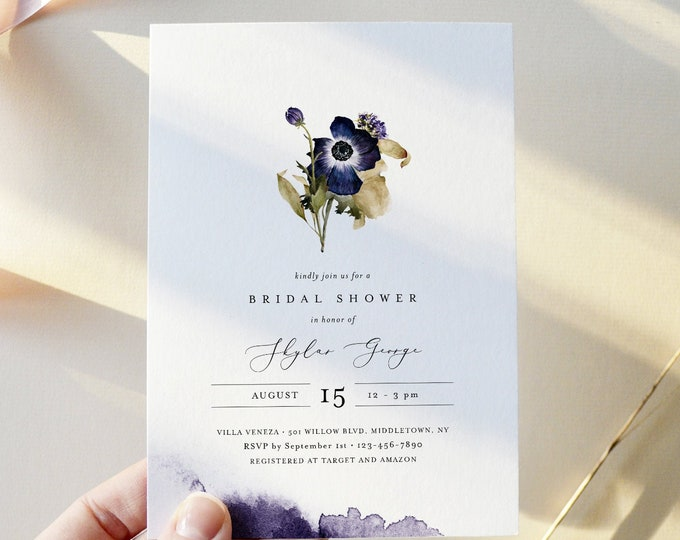 Floral Bridal Brunch Shower Invitation, Anemone Floral, Editable Template, Fall Wedding Shower Invite, Instant Download, Templett 0014-283BS