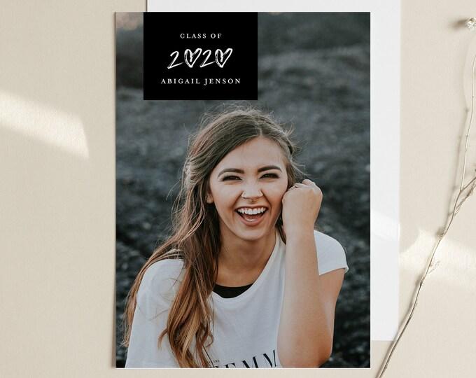 Graduation Announcement Template, 2020 Photo Graduate Postcard, Editable Senior Photography Card, Instant Download, Templett, 5x7 #101GA