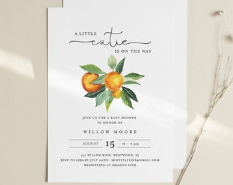 Cutie Baby Shower Invitation, Printable Citrus Orange Baby Shower Invite, Little Cutie, Editable Template, Instant Download #084-184BA